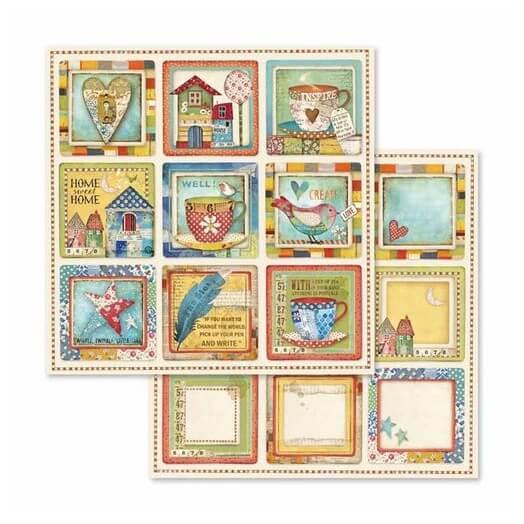 Χαρτί scrapbooking διπλής όψης 30x30cm Stamperia,  Patchwork cards cups