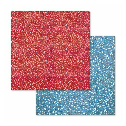 Χαρτί scrapbooking διπλής όψης 30x30cm Stamperia,  Patchwork texture flowered texture red and blue