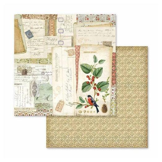 Χαρτί scrapbooking διπλής όψης 30x30cm Stamperia,  Winter Botanic postcards
