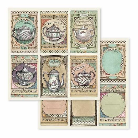 Χαρτί scrapbooking διπλής όψης 30x30cm Stamperia,  Tea Time