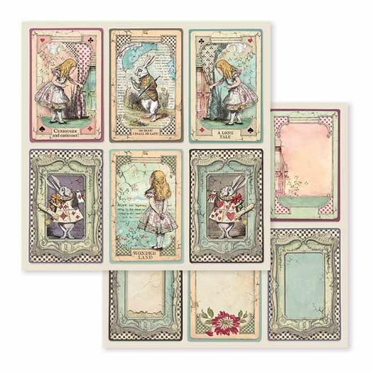 Χαρτί scrapbooking διπλής όψης 30x30cm Stamperia,  Alice cards