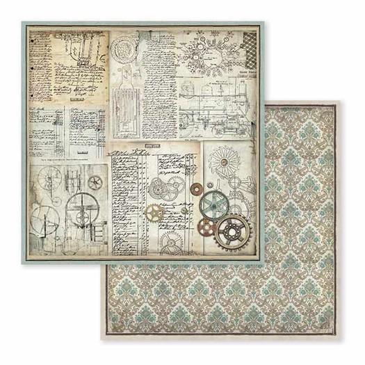Χαρτί scrapbooking διπλής όψης 30x30cm Stamperia,  Voyages Fantastiques, gears