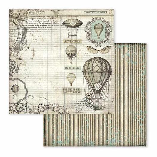 Χαρτί scrapbooking διπλής όψης 30x30cm Stamperia,  Voyages Fantastiques, Air Balloon