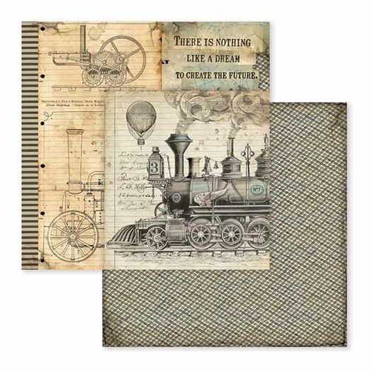 Χαρτί scrapbooking διπλής όψης 30x30cm Stamperia,  Voyages Fantastiques, Steam Train