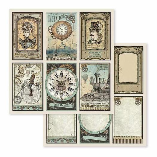 Χαρτί scrapbooking διπλής όψης 30x30cm Stamperia,  Voyages Fantastiques, Cards