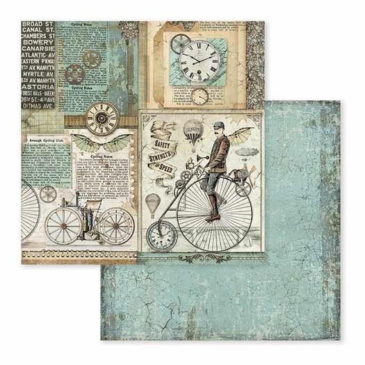 Χαρτί scrapbooking διπλής όψης 30x30cm Stamperia,  Voyages Fantastiques, Retro Bicycles