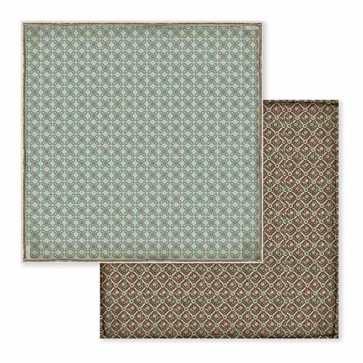 Χαρτί scrapbooking διπλής όψης 30x30cm Stamperia,  Voyages Fantastiques, Brown Turquoise wallpaper