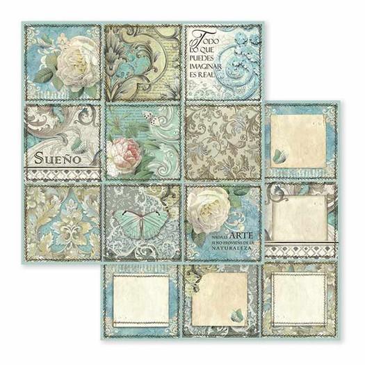 Χαρτί scrapbooking διπλής όψης 30x30cm Stamperia,  Azulejo Sueño