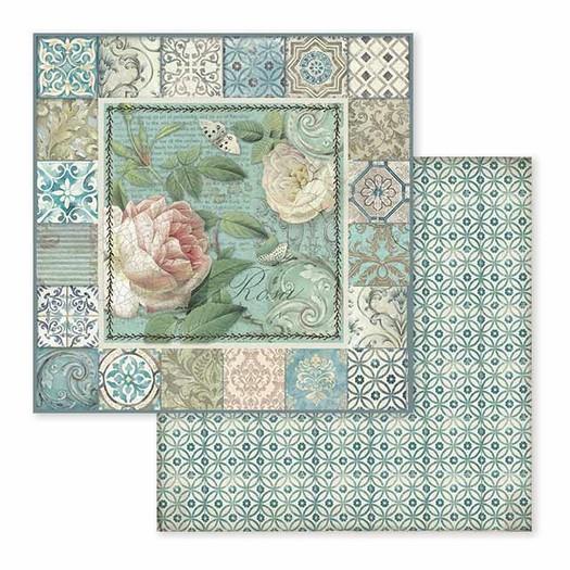 Χαρτί scrapbooking διπλής όψης 30x30cm Stamperia,  Azulejo, Frame with rose