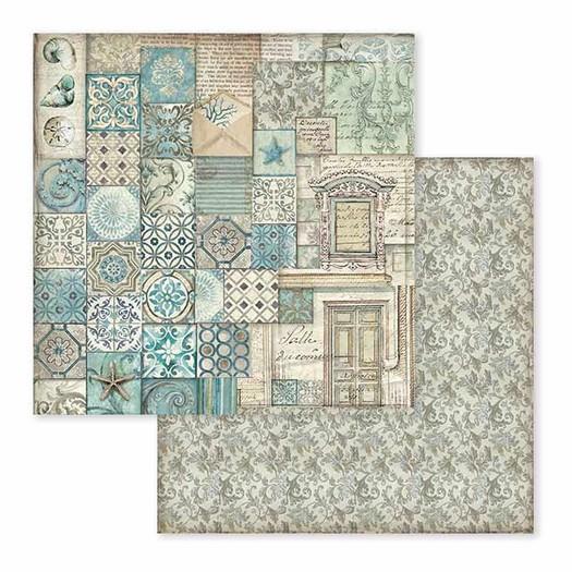 Χαρτί scrapbooking διπλής όψης 30x30cm Stamperia,  Azulejo Patchwork