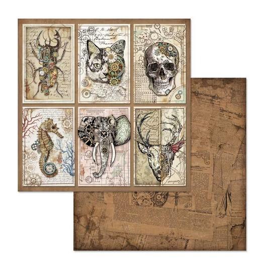 Χαρτί scrapbooking διπλής όψης 30x30cm Stamperia, Mechanical Fantasy Cards