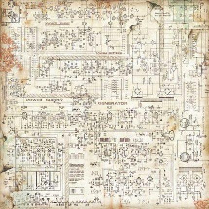 Χαρτί scrapbooking διπλής όψης 30x30cm Stamperia, Mechanical Fantasy Circuit
