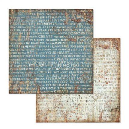 Χαρτί scrapbooking διπλής όψης 30x30cm Stamperia, Mechanical Fantasy Writings