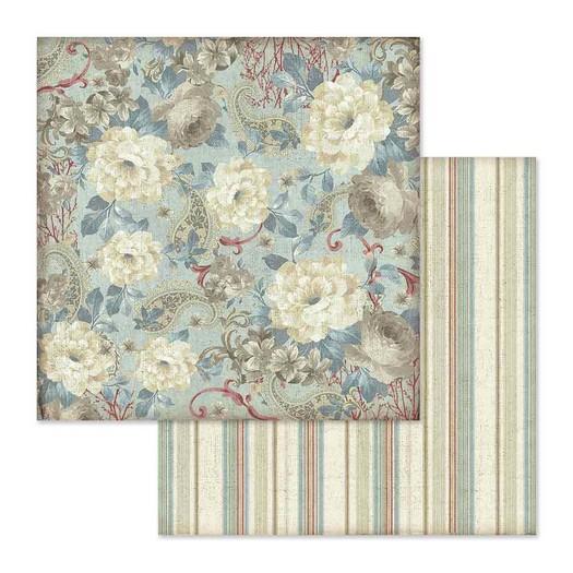 Χαρτί scrapbooking διπλής όψης 30x30cm Stamperia, White flowers wallpaper
