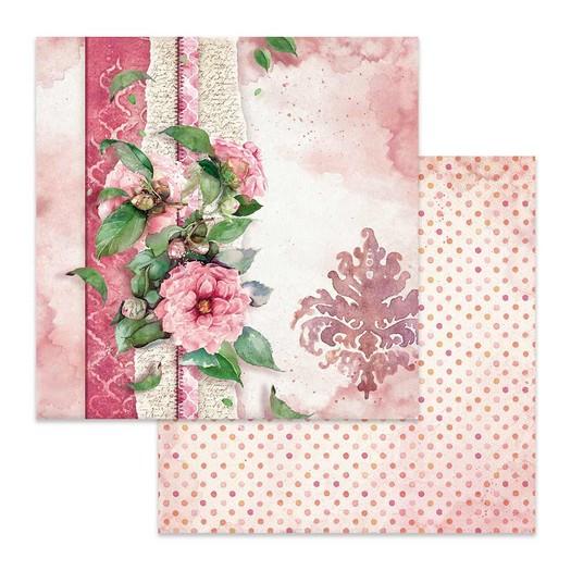 Χαρτί scrapbooking διπλής όψης 30x30cm Stamperia, Flowers for you pink background