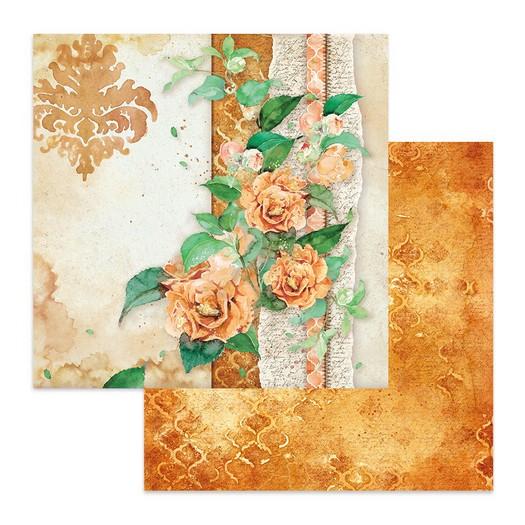 Χαρτί scrapbooking διπλής όψης 30x30cm Stamperia, Flowers for you ocher background