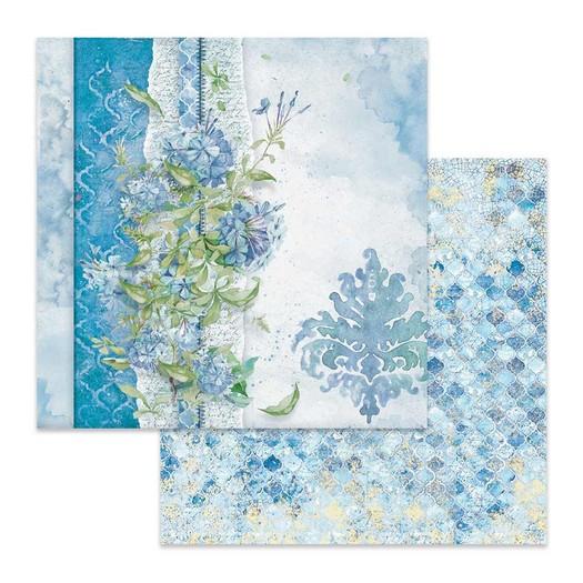 Χαρτί scrapbooking διπλής όψης 30x30cm Stamperia, Flowers for you blue background