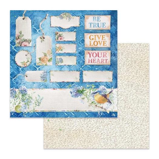 Χαρτί scrapbooking διπλής όψης 30x30cm Stamperia, Flowers for you tag & tickets