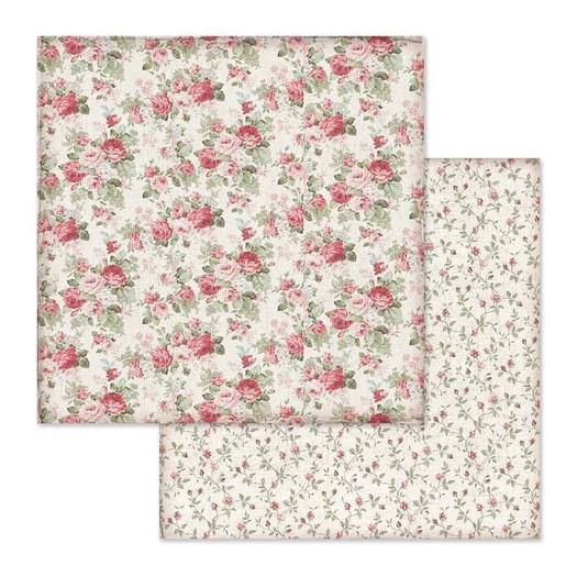 Χαρτί scrapbooking διπλής όψης 30x30cm Stamperia, Wallpaper Rosebuds