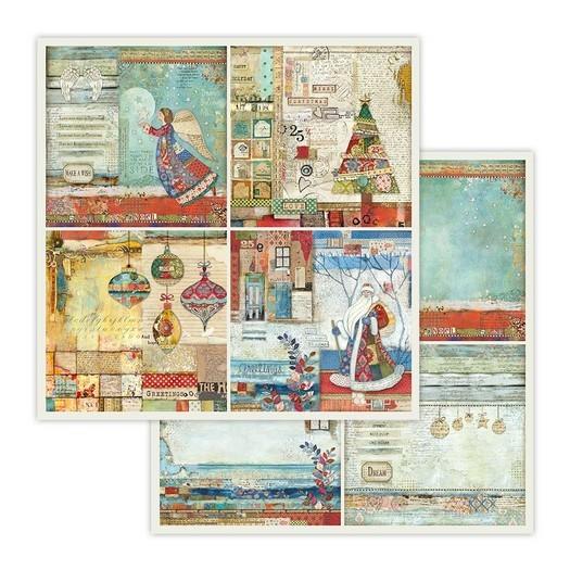 Χαρτί scrapbooking διπλής όψης 30x30cm Stamperia, 4 Frames Christmas