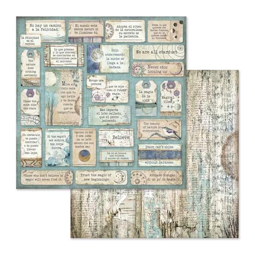 Χαρτί scrapbooking διπλής όψης 30x30cm Stamperia, Cosmos quotes