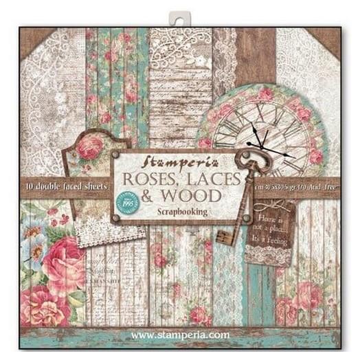 Χαρτιά scrapbooking 10τεμ - Roses lace and wood - Stamperia