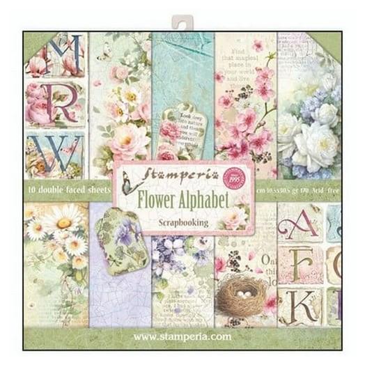 Χαρτιά scrapbooking 10τεμ Flower Alphabet, Stamperia