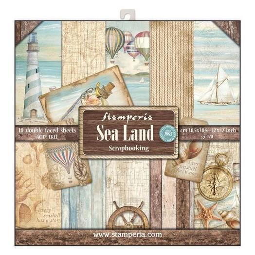 Χαρτιά scrapbooking 10τεμ Sea Land, Stamperia
