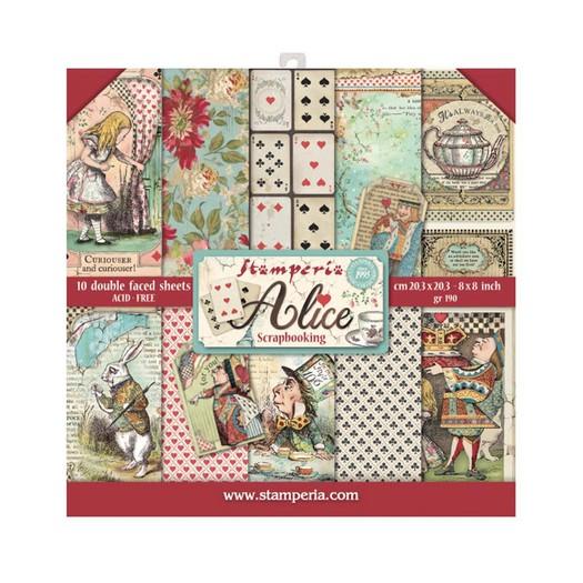 Χαρτιά scrapbooking 10τεμ Stamperia 20,3x20,3cm, Alice in Wonderland