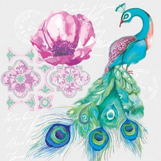 Χαρτοπετσέτα για Decoupage, Flower peacock, 1τεμ