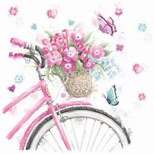 Χαρτοπετσέτα για Decoupage, Flowers bicycle, 1τεμ