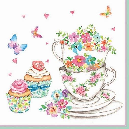 Χαρτοπετσέτα για Decoupage, Watercolor cups, 1τεμ