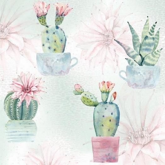Χαρτοπετσέτα για Decoupage, Watercolor cactus, 1τεμ
