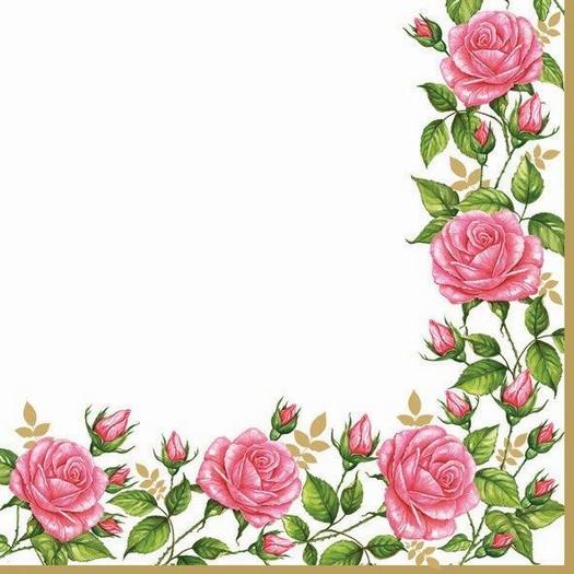 Χαρτοπετσέτα για Decoupage, Roses border, 1τεμ