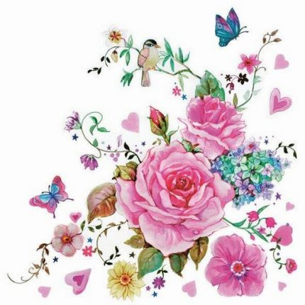 Χαρτοπετσέτα για Decoupage, Bird and roses, 1τεμ