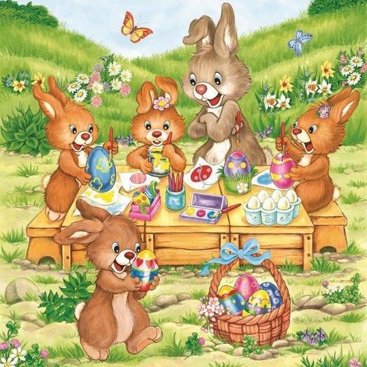 Χαρτοπετσέτα για Decoupage, Easter bunnies, 1τεμ