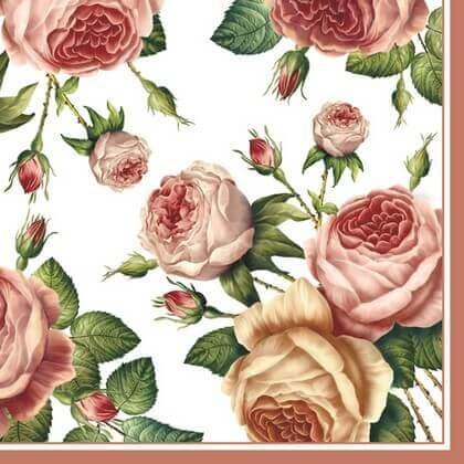 Χαρτοπετσέτα για Decoupage Tea Roses White, 1τεμ