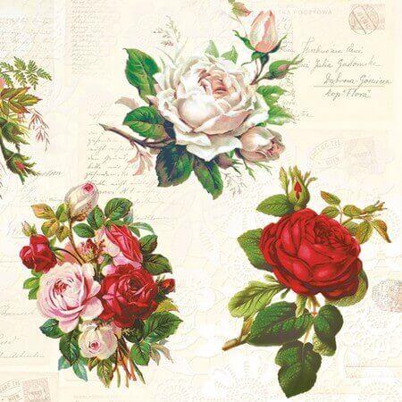 Χαρτοπετσέτα για Decoupage English Roses, 1τεμ