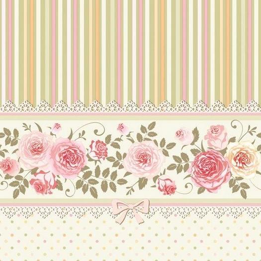 Χαρτοπετσέτα για Decoupage, English Roses & Stripes, 1τεμ