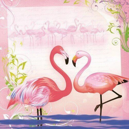 Χαρτοπετσέτα για decoupage, Pair of Flamingos