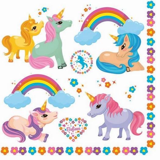 Χαρτοπετσέτα για Decoupage, Little unicorns 1τεμ