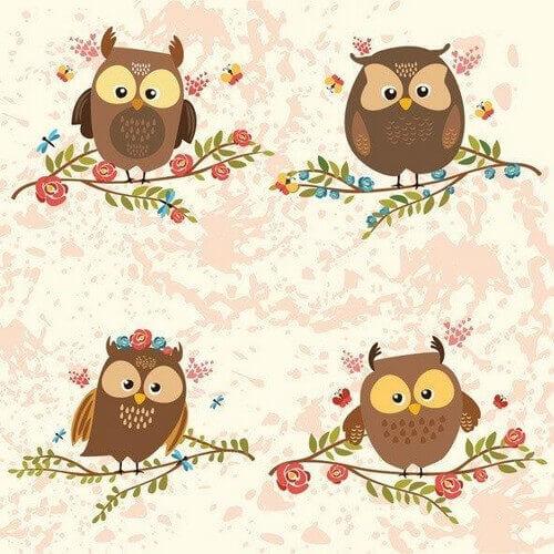 Χαρτοπετσέτα για decoupage, Brown Owls on Twigs