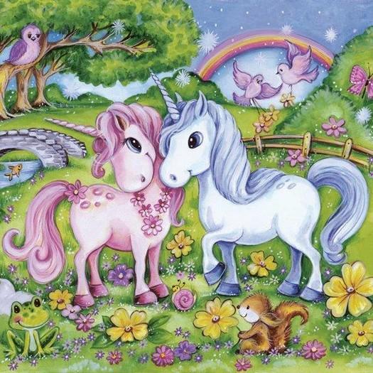 Χαρτοπετσέτα για Decoupage, Unicorn love, 1τεμ