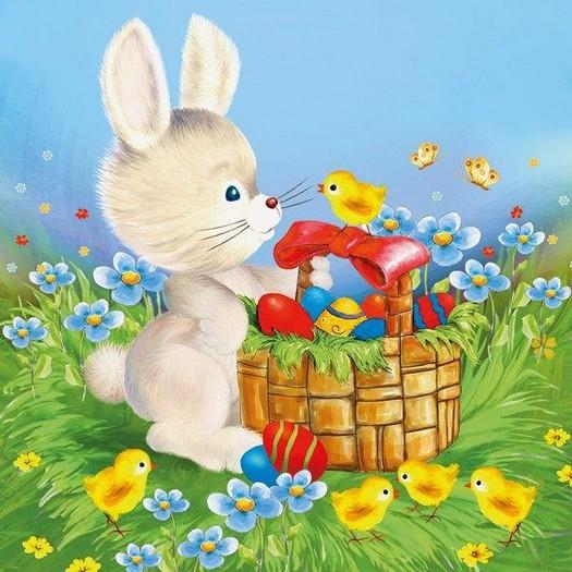 Χαρτοπετσέτα για Decoupage, Bunny with basket, 1τεμ.