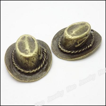 Antique Bronze Metal Hat 53mm - σετ 2 τεμ