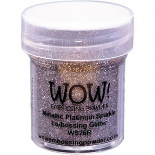 Σκόνη Embossing 15ml WOW, Metallic Platinum Sparkle
