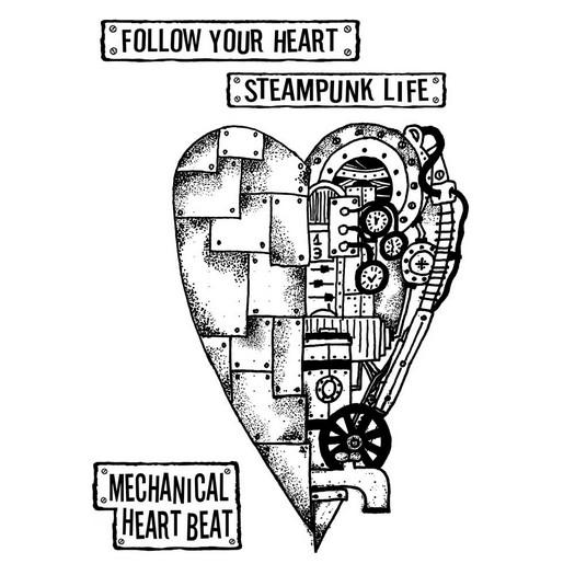Σφραγίδα 15x20cm, Stamperia,  Mechanical heart