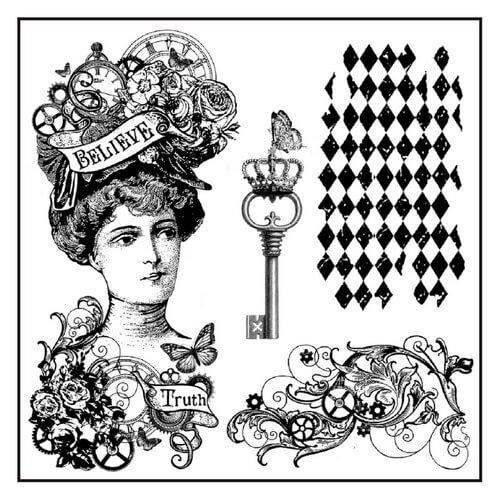 Σφραγίδα Steampunk woman 10x10cm, Stamperia