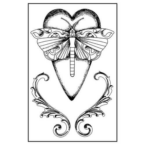 Σφραγίδα HD 7x11cm Heart Dragonfly, Stamperia