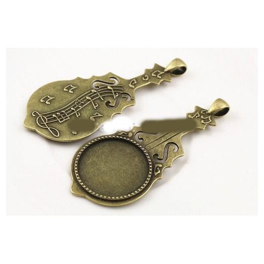 Μενταγιόν μεταλλικό Antique Bronze 25mm-7cm Βιολί, 1 τεμ.